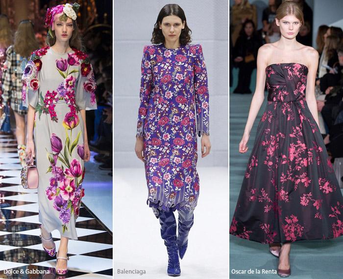 Цветы - модные тенденции принтов, осень зима 2016-2017