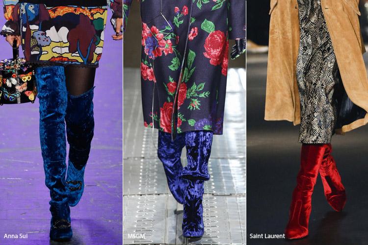 Бархат - модная обувь, тенденции сезона осень 2016 - зима 2017