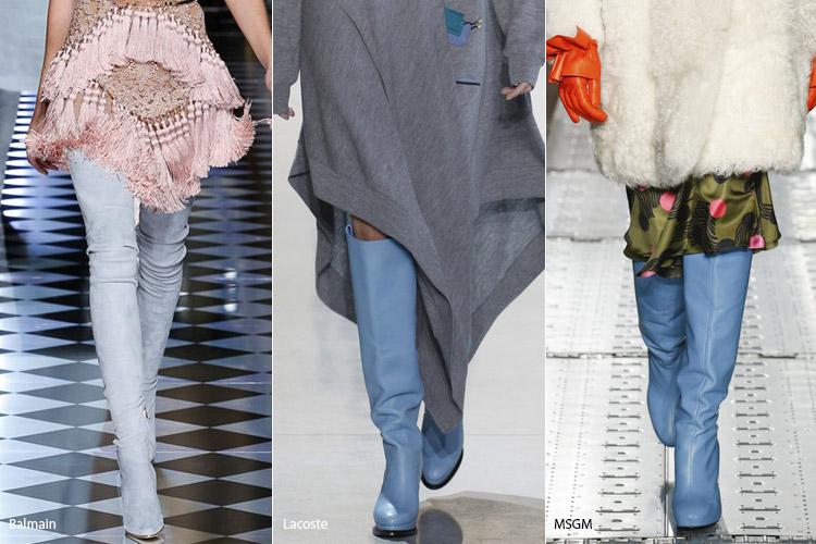 Голубые сапоги - модная обувь, тенденции сезона осень 2016 - зима 2017