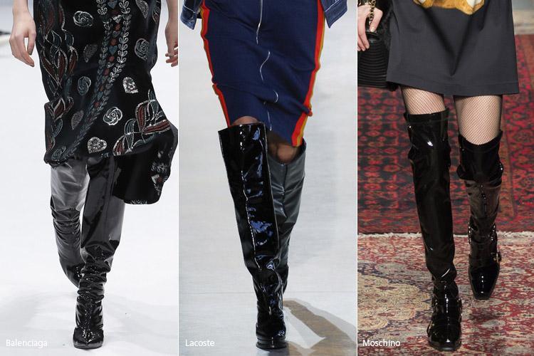 Лакированные сапоги - модная обувь, тенденции сезона осень 2016 - зима 2017