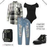 Лук с черно-белой рубашкой, боди и рваными джинсами
