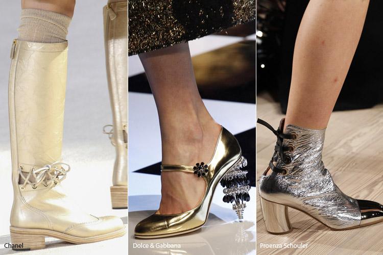 Металлический оттенок - модная обувь, тенденции сезона осень 2016 - зима 2017