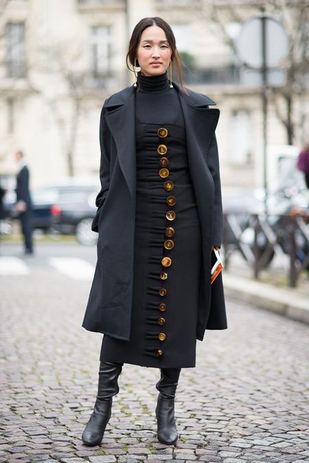 Модель в черном сарафане на пуговицах, черная водолазка и пальто