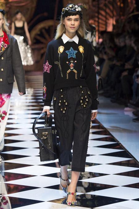 Dolce & Gabbana - широкие укороченные брюки, модные тенденции осень/зима 2016-2017