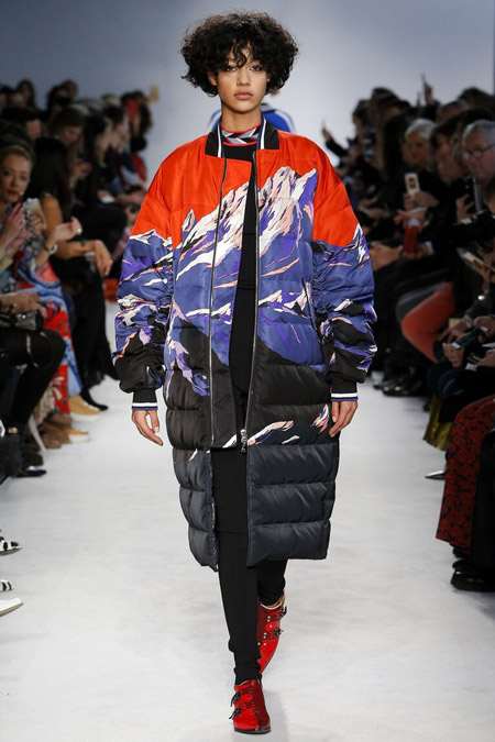 Модель в пуховике с принтом от Emilio Pucci - модные куртки и пуховики на осень 2016 и зиму 2017