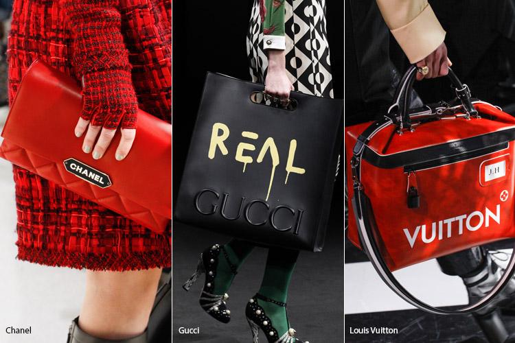 Сумки с крупным логотипом бренда - тенденции осень 2016, зима 2017