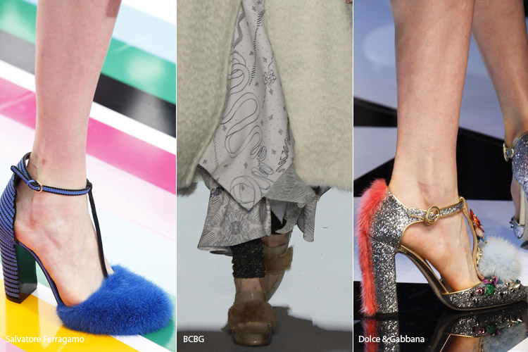 Вставки из меха - модная обувь, тенденции сезона осень 2016 - зима 2017
