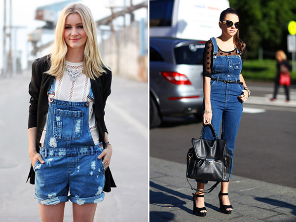 девушки в разных джинсовых комбинезонах