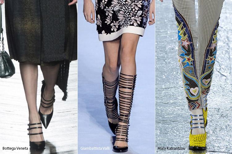 множественные ремешки - модная обувь, тенденции сезона осень 2016 - зима 2017