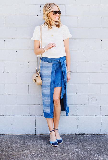Девушка в джинсовой юбке, белая футболка, босоножки и бежевая сумочка