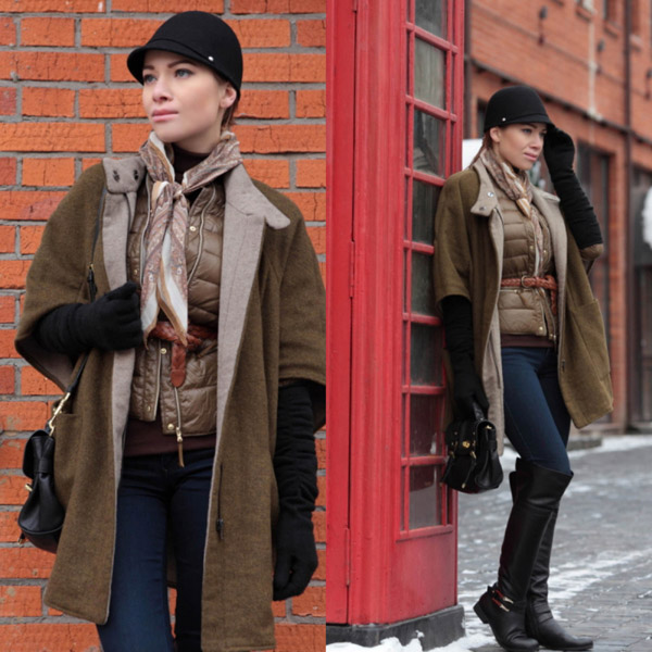 Девушка в шапке и оливковом пальто