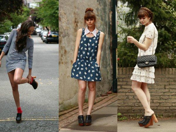 Девушки в платьях и сабо