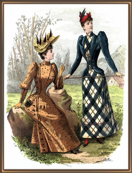 Две дамы в нарядах в вкторианском стиле