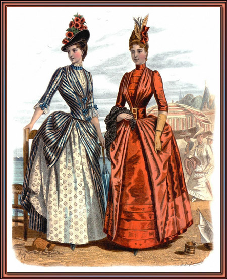 Две дамы в тулетах в викторианском стиле