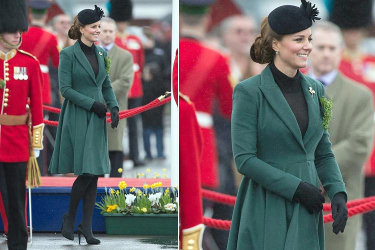 Кейт Миддлтон в изумрудном пальто