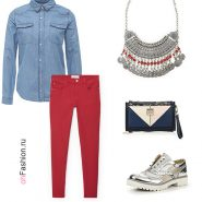 Лук с бордовыми брюками и джинсовой рубашкой