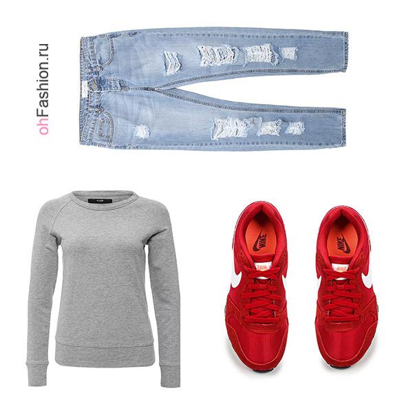 Лук с голубыми джинсами 3