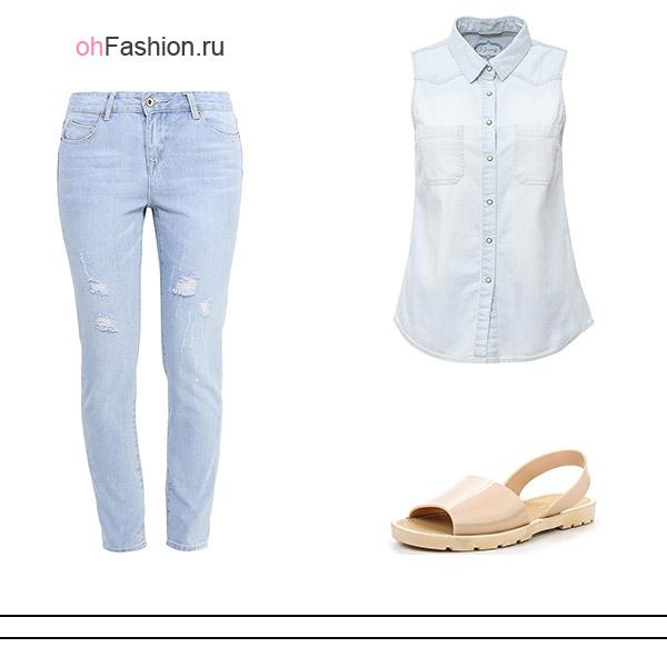 Лук с голубыми джинсами 4