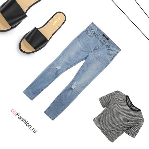 Лук с голубыми джинсами 5