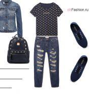 Лук с рваными джинсами, футболкой, кеды и рюкзак