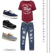 Лук с 3 вариантами кедов, джинсы и футболка