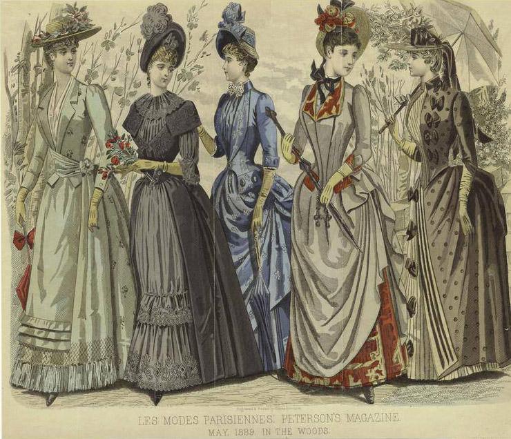 Рисунок с платьями в викторианском стиле