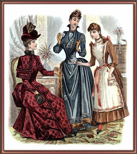 Три дамы в нарядах в викторианском стиле