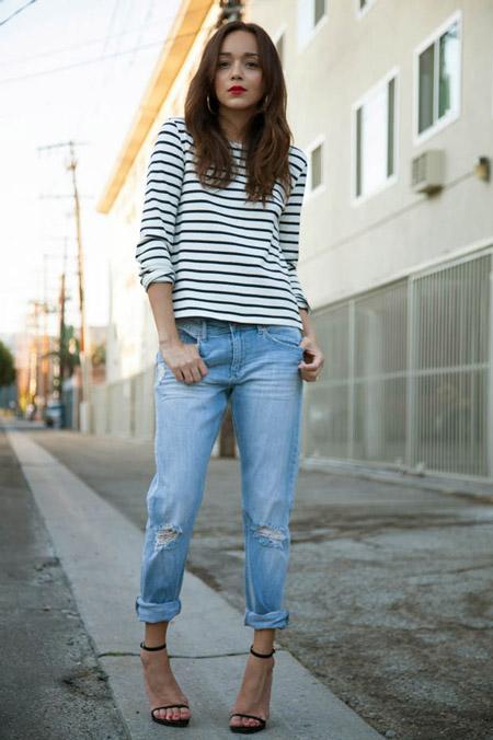 Укороченные джинсы, с чем сочетать?
