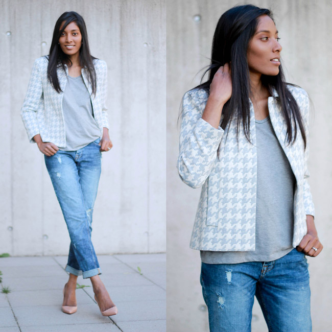 Девушка в светлом жакете м укороченных джинсах