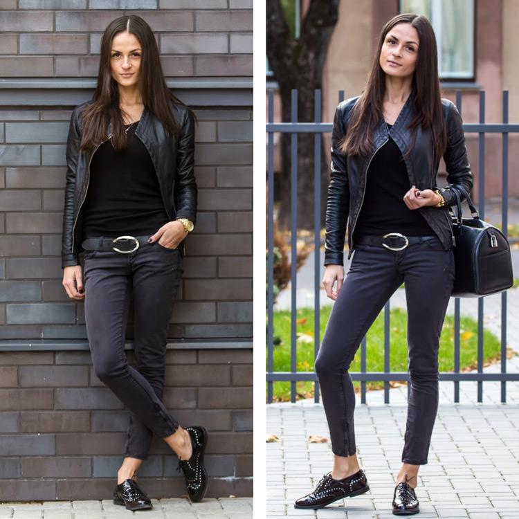 Девушка в укороченных джинсах и черных брогах