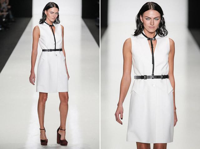 Модель в белом платье и портупее