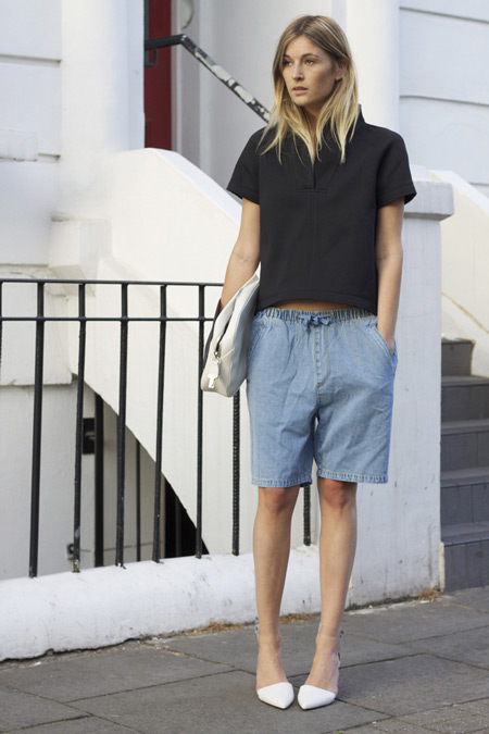 Модель в голубых бермудах, черная футболка и туфли лодочки