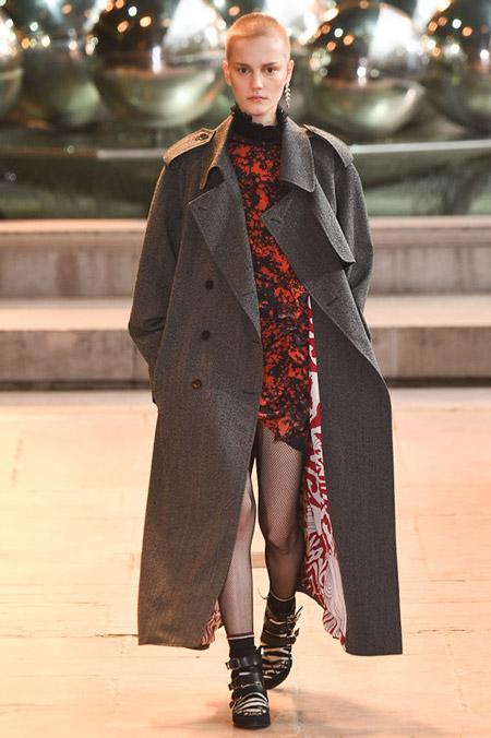 Модель в сером длинном пальто от Isabel Marant - модные пальто осень 2016, зима 2017