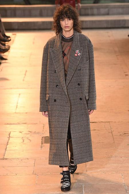 Модель в сером пальто на пуговицах от Isabel Marant - модные пальто осень 2016, зима 2017