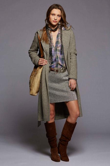Модель в сером пальто ниже колен от Polo Ralph Lauren - модные пальто осень 2016, зима 2017