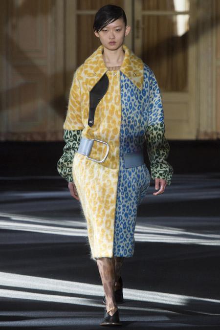 Модель в сине желтом пальто леопардовой расцветки от Acne Studios - модные пальто осень 2016, зима 2017