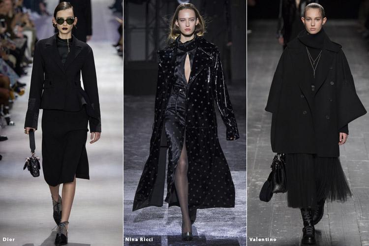Модели в черных тотал-луках - модные тенденции осень 2016, зима 2017