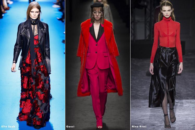 Модели в красно-черной одежде - модные тенденции осень 2016, зима 2017