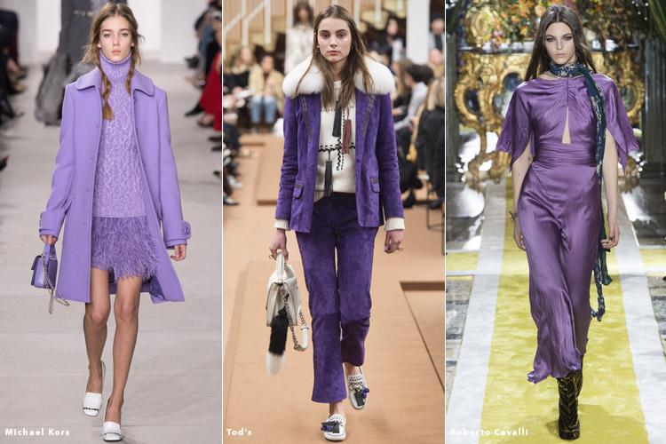 Модели в лиловой одежде - модные тенденции осень 2016, зима 2017