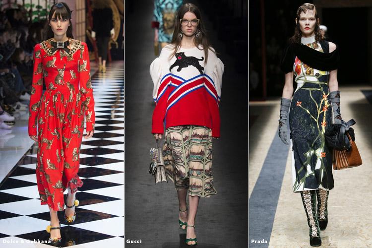 Модели в нарядах с изображениями животных - модные тенденции осень 2016, зима 2017