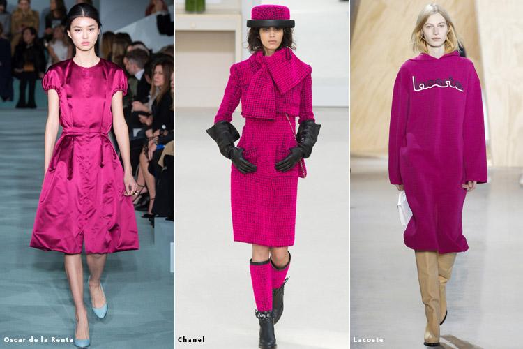 Модели в нарядах цвета фуксии - модные тенденции осень 2016, зима 2017