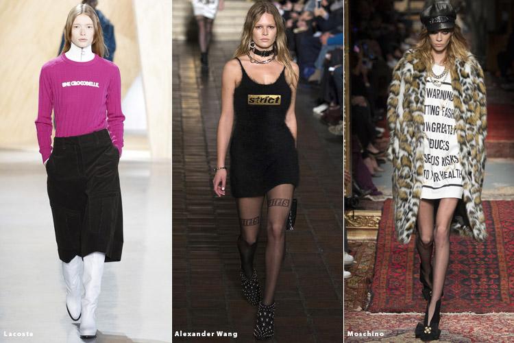 Модели в одежде с надписями - модные тенденции осень 2016, зима 2017