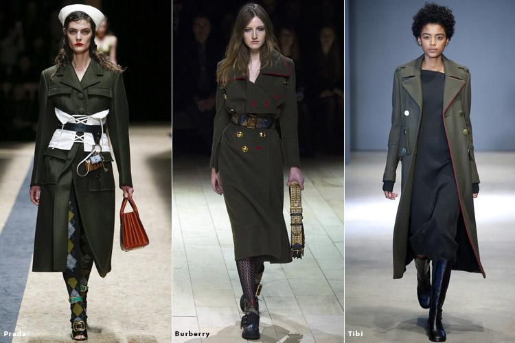 Модели в одежде в стиле милитари - модные тенденции осень 2016, зима 2017