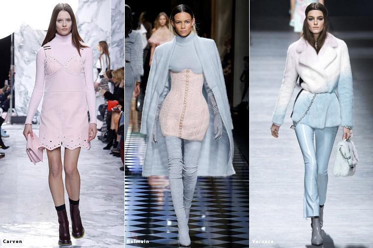 Модели в пастельных нарядах - модные тенденции осень 2016, зима 2017