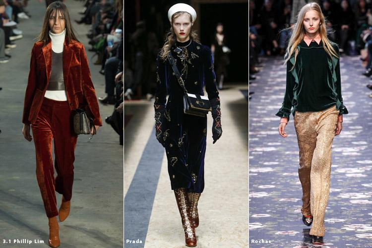 Модели в вещах из бархата - модные тенденции осень 2016, зима 2017