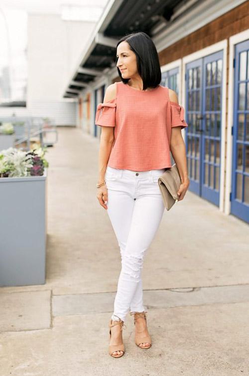 Что носить с белыми джинсами, штанами. Выбор звезд, фото