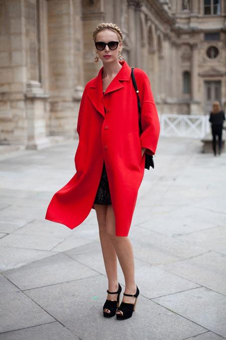Девушка в черных босоножках и красном пальто
