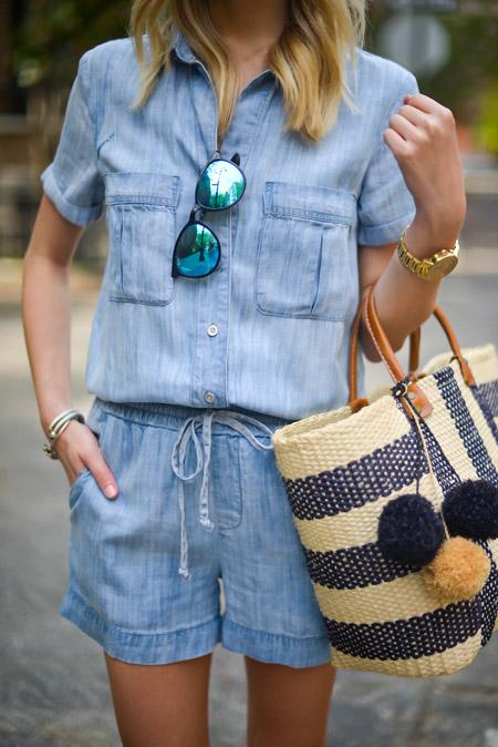 Девушка в джинсовой рубащке и шортах с сумкой тоут в руках