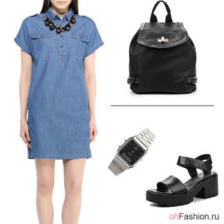 Лук с джинсовым платьем и рюкзаком