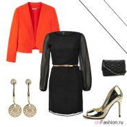 Лук с оранжевым блейзером, черным платьем и блестящие туфли на шпильке